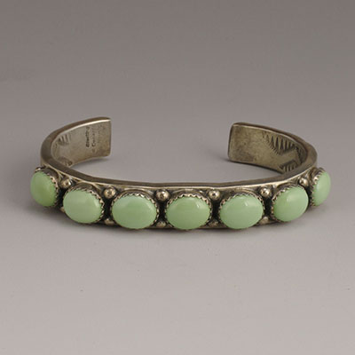 Will Denetdale Diné Stamped Sterling Silver Cuff with Matched Variscite Oval Cabochons