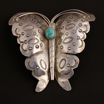 Navajo butterfly pin with turquoise