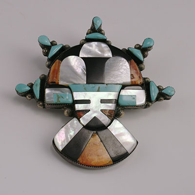 Zuni Mosaic Inlay Tabletta Pin with Spiney oyster, mother of pearl, onyx, and turquoise