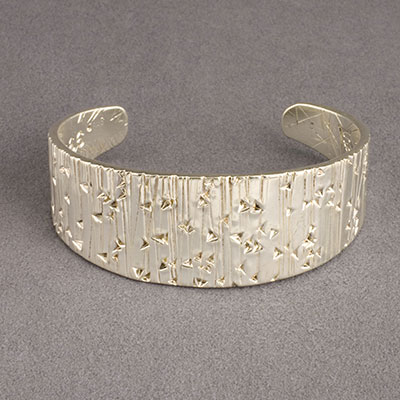 Cody Sanderson Forged and Stamped Fine Silver Navajo Cuff