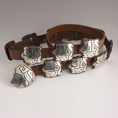 Tammy Garcia Sterling Silver and Leather Concho Belt