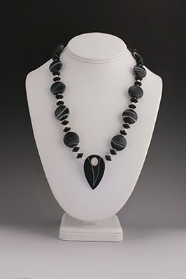 moonstone, baqnded agate and silver necklace