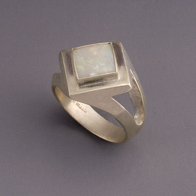 square gemstone silver ring