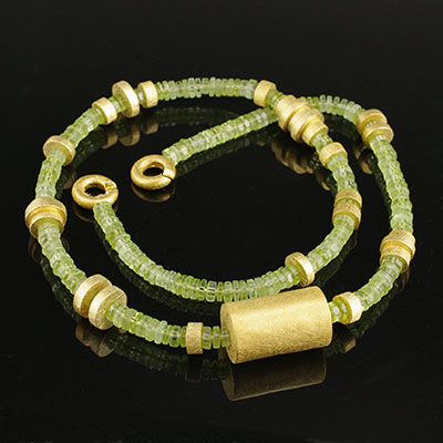 Peridot and Vermeil bead necklace