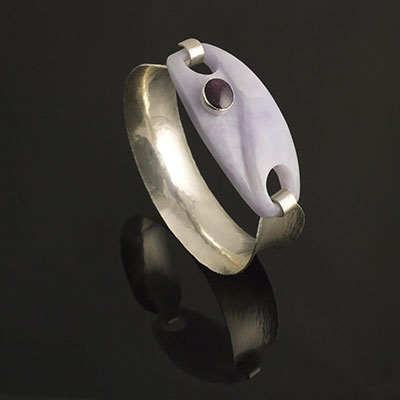 hammer formed silver bangle with lavender jade and star ruby