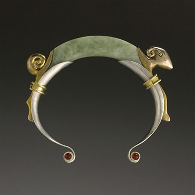 Green jade Ram bangle bracelet with18k gold and sterling silver