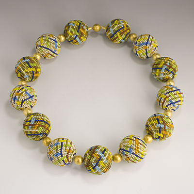 Elaine Felhandler design large glass beaded bead and vermeil necklace