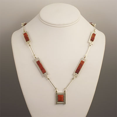 Mediterranean red moonga coral and sterling silver pendant necklace