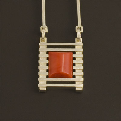 red Mediterranean Coral and sterling Silver Pendant