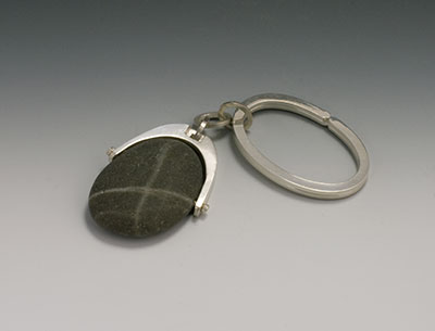 beach pebble and silver key fob