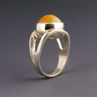 silver ring with honey opal cabuchon