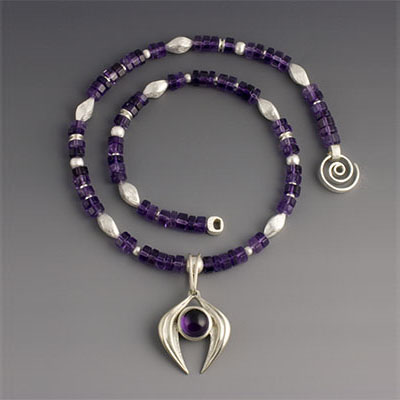 amethyst and silver bead necklace and pendant