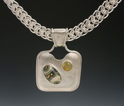 ocean jasper, honey opan and silver pendant
