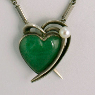 antonio pineda green jade heart silver necklace
