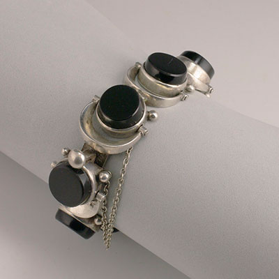Antonio Pineda silver and black onyx swiveling disks bracelet
