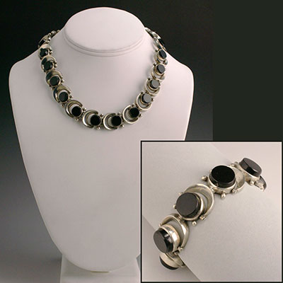 Antonio Pineda sterling silver and Onyx bracelet and necklace