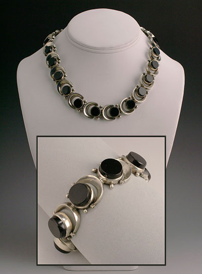 Antonio Pineda silver and onyx necklace and bracelet