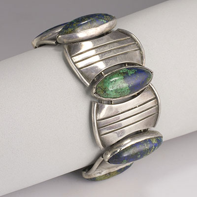 Hector Aguilar Circle and Lozenge sterling silver and azure malachite bracelet