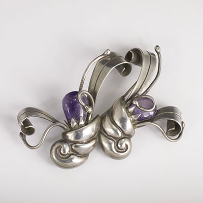 Piedra y Plata sterling silver and amethyst double cornucopia brooch pin