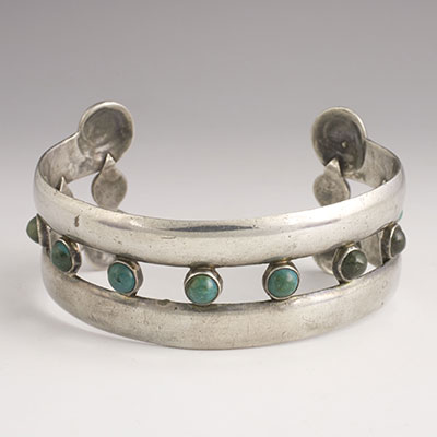 Hector Aguilar Turquoise and Sterling Silver Repousse Cuff