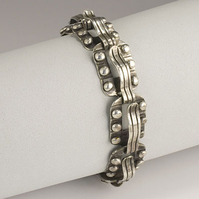 Hector Aguilar Sterling Silver Wave & Bead Bracelet