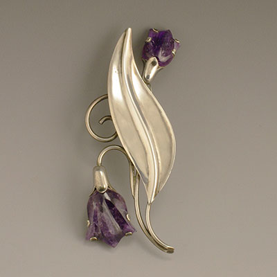 Fred Davis Sterling Silver and Carved Amethyst Tulip Pin