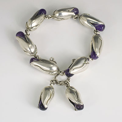 Antonio Pineda Tono corn ear silver and amethyst bracelet
