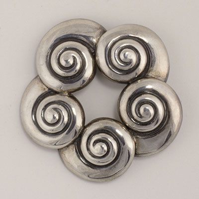 Margot de Taxco Sterling Silver Shells Pin