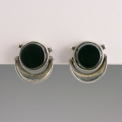 Antonio Pineda silver and onyx earrings