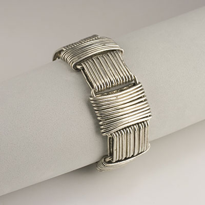 Hector Aguilar sterling silver wire Paperclip bracelet