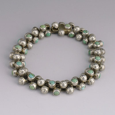 William Spratling Silver and turquoise Caviar bracelet