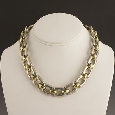 Tane silver and vermeil gold heavy square link necklace