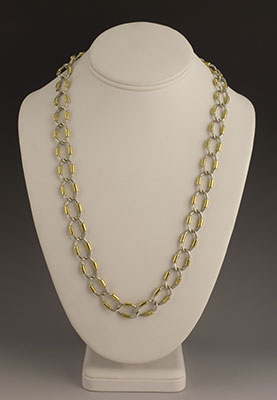 Tane silver and vermeil gold oval link necklace